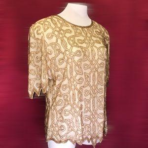 Vintage 80s Designer Beaded Silk Statement Top NWT